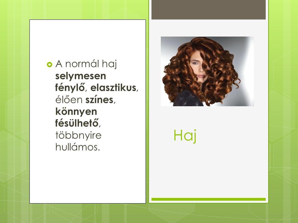  A normál haj selymesen fénylő, elasztikus, élően színes, könnyen fésülhető, többnyire hullámos. Haj
