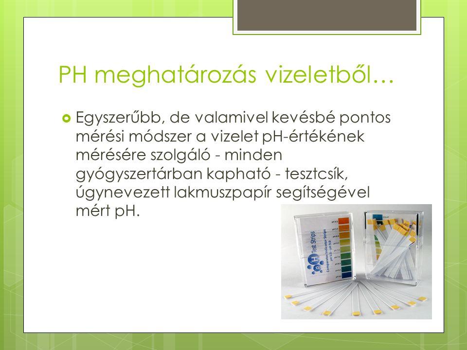 PH meghatározás vizeletből…  Egyszerűbb, de valamivel kevésbé pontos mérési módszer a vizelet pH-értékének mérésére szolgáló - minden gyógyszertárban