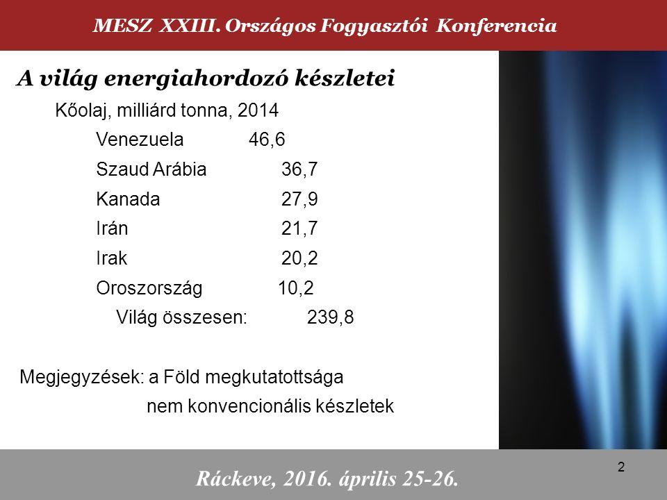 Kőolaj, milliárd tonna, 2014 Venezuela46,6 Szaud Arábia36,7 Kanada27,9 Irán21,7 Irak20,2 Oroszország 10,2 Világ összesen: 239,8 Megjegyzések: a Föld megkutatottsága nem konvencionális készletek MESZ XXIII.