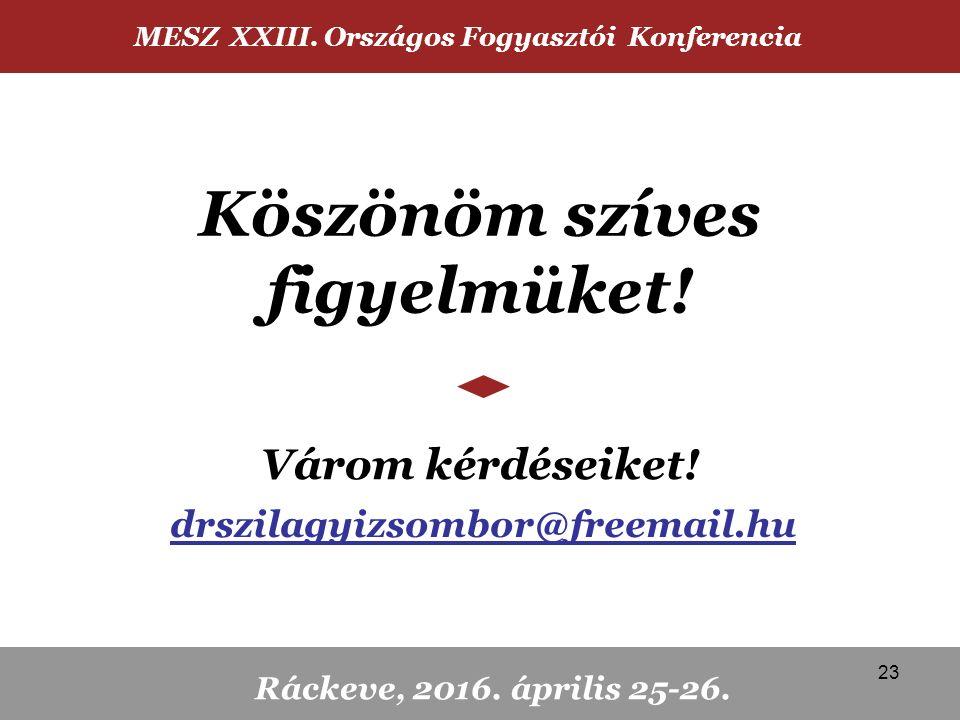 Köszönöm szíves figyelmüket! Várom kérdéseiket! MESZ XXIII. Országos Fogyasztói Konferencia Ráckeve, 2016. április 25-26. drszilagyizsombor@freemail.h