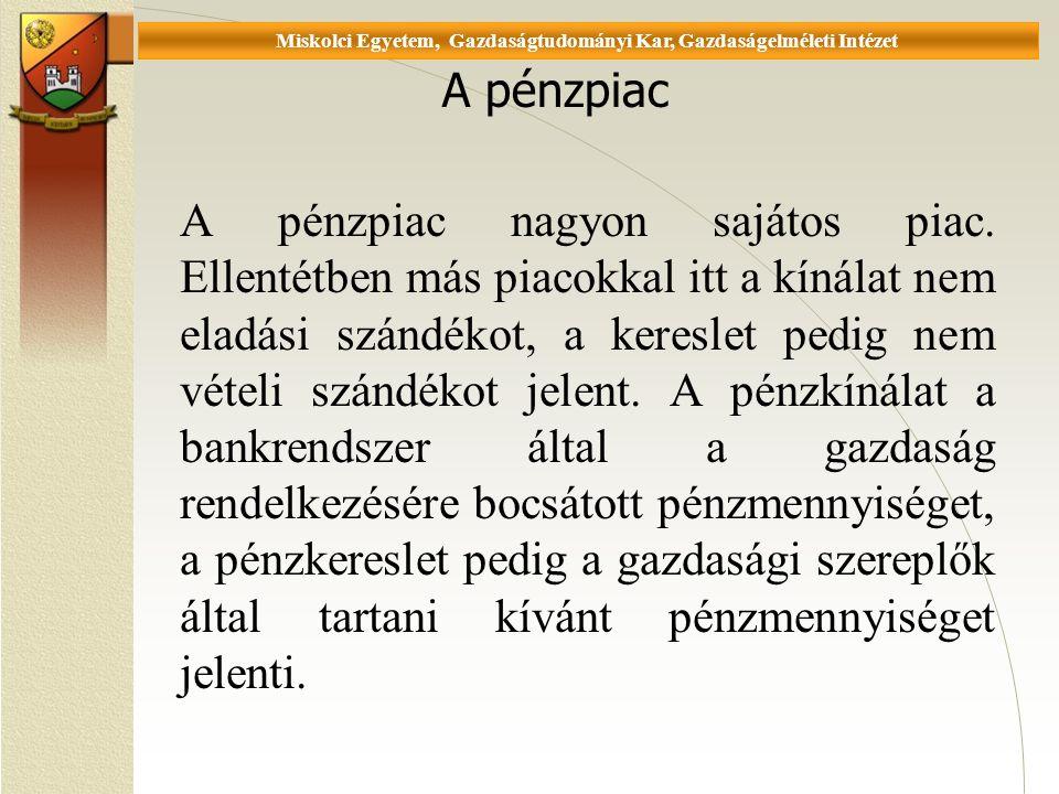Universität Miskolc, Fakultät für Wirtschaftswissenschaften, Istitut für Wirtschaftstheorie A pénzpiac A pénzpiac nagyon sajátos piac.