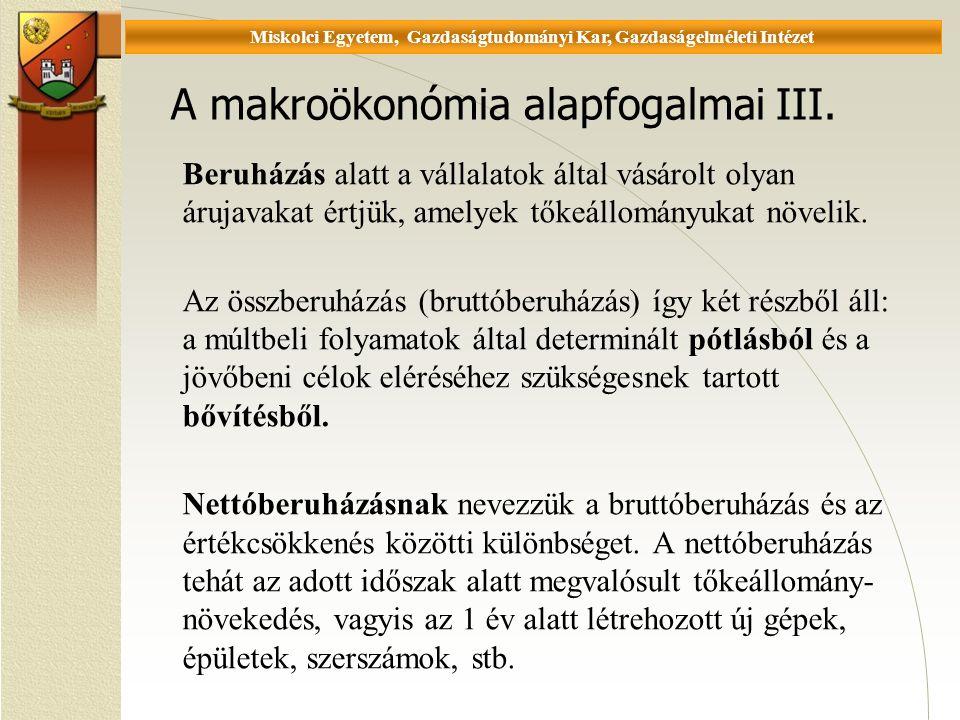 Universität Miskolc, Fakultät für Wirtschaftswissenschaften, Istitut für Wirtschaftstheorie A makroökonómia alapfogalmai III.