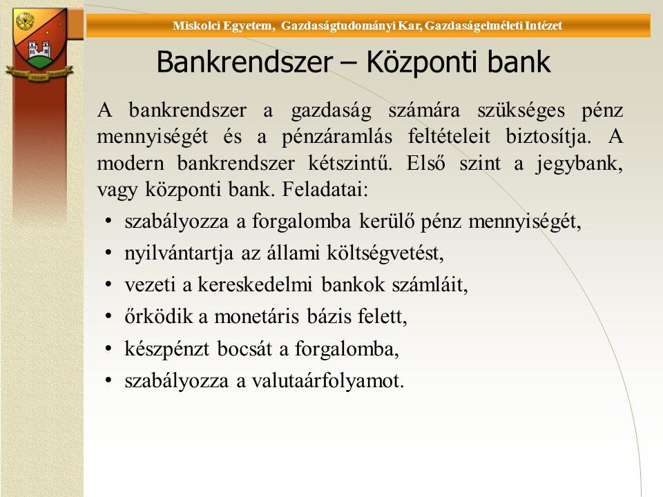 Universität Miskolc, Fakultät für Wirtschaftswissenschaften, Istitut für Wirtschaftstheorie Bankrendszer – Központi bank A bankrendszer a gazdaság számára szükséges pénz mennyiségét és a pénzáramlás feltételeit biztosítja.