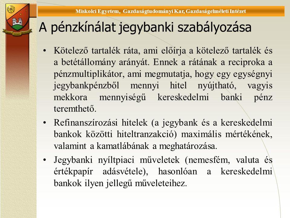 Universität Miskolc, Fakultät für Wirtschaftswissenschaften, Istitut für Wirtschaftstheorie A pénzkínálat jegybanki szabályozása Kötelező tartalék ráta, ami előírja a kötelező tartalék és a betétállomány arányát.