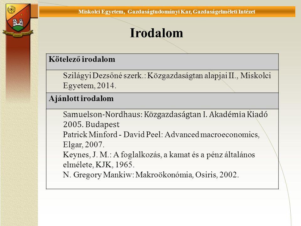 Universität Miskolc, Fakultät für Wirtschaftswissenschaften, Istitut für Wirtschaftstheorie 4.