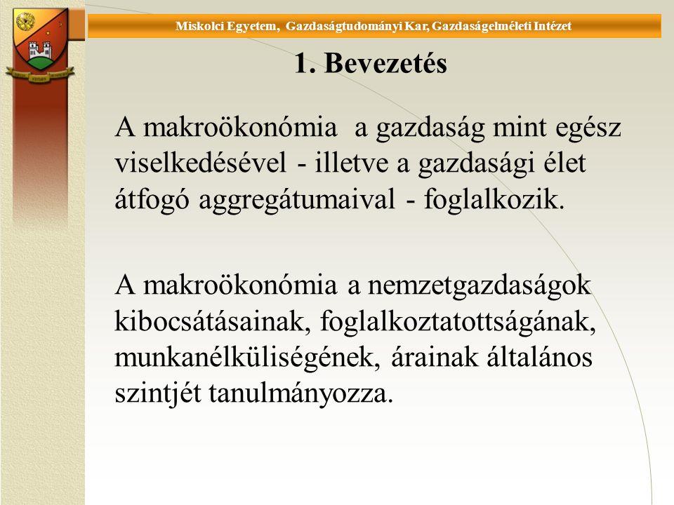 Universität Miskolc, Fakultät für Wirtschaftswissenschaften, Istitut für Wirtschaftstheorie Számítási feladatok 1.