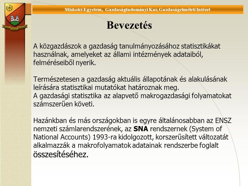 Universität Miskolc, Fakultät für Wirtschaftswissenschaften, Istitut für Wirtschaftstheorie A közgazdászok a gazdaság tanulmányozásához statisztikákat használnak, amelyeket az állami intézmények adataiból, felméréseiből nyerik.