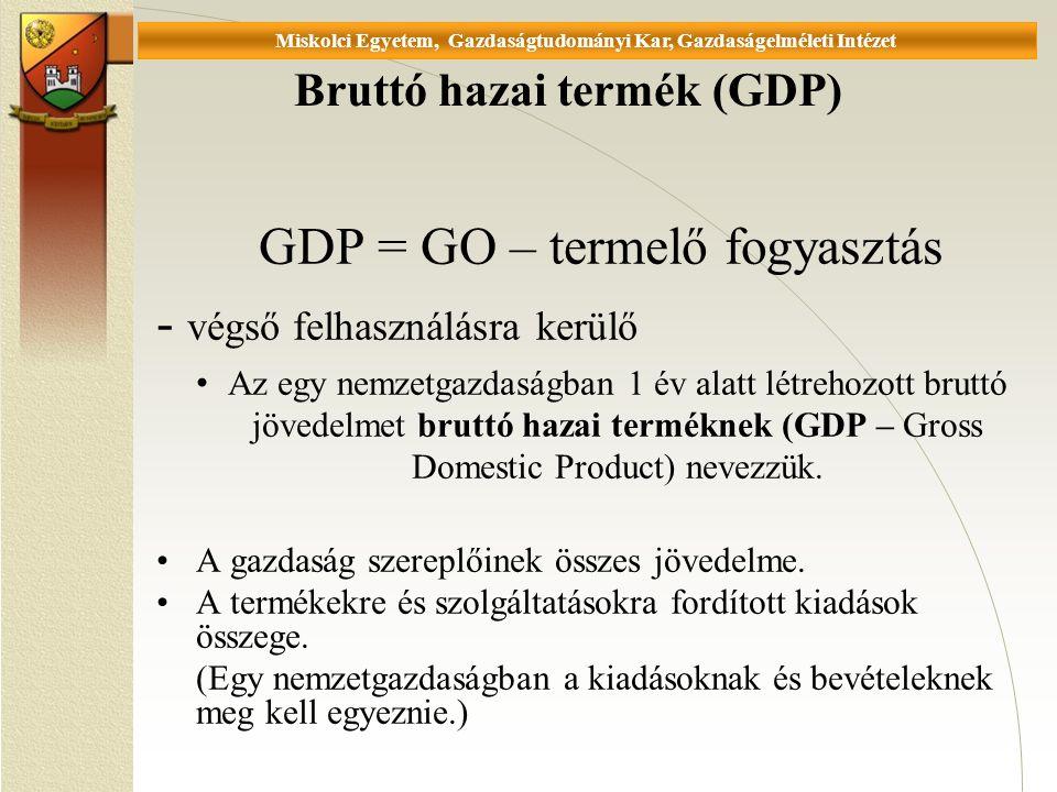Universität Miskolc, Fakultät für Wirtschaftswissenschaften, Istitut für Wirtschaftstheorie Bruttó hazai termék (GDP) GDP = GO – termelő fogyasztás - végső felhasználásra kerülő Az egy nemzetgazdaságban 1 év alatt létrehozott bruttó jövedelmet bruttó hazai terméknek (GDP – Gross Domestic Product) nevezzük.
