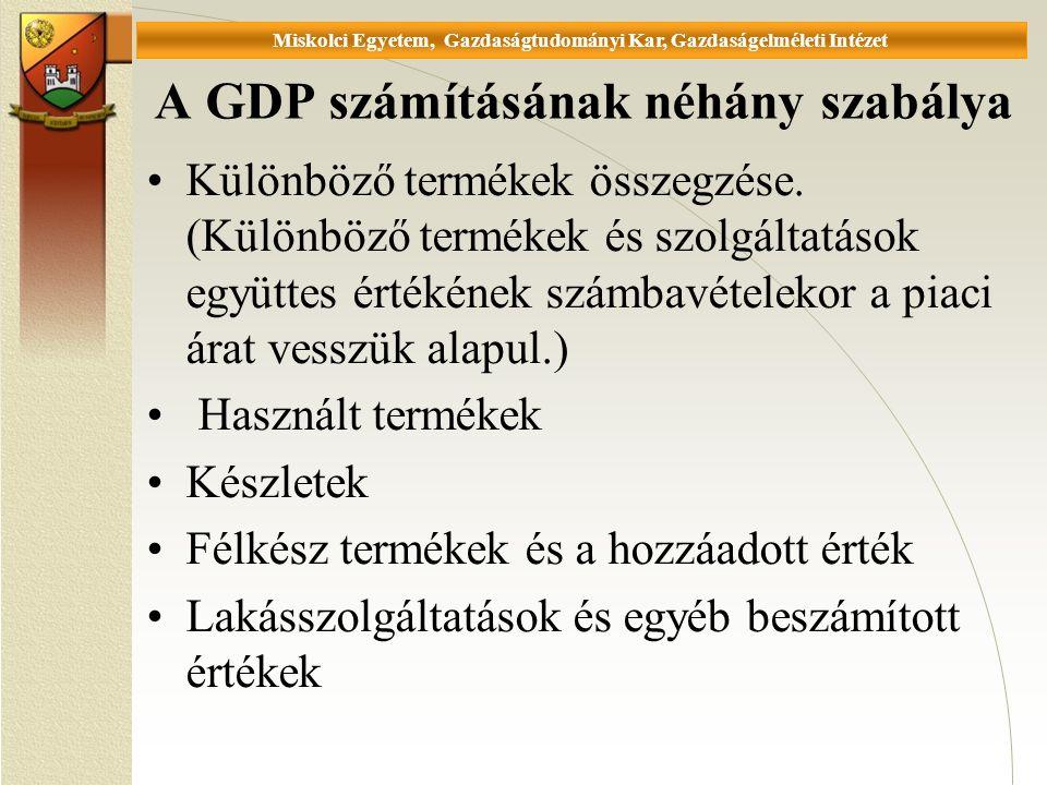 Universität Miskolc, Fakultät für Wirtschaftswissenschaften, Istitut für Wirtschaftstheorie A GDP számításának néhány szabálya Különböző termékek összegzése.