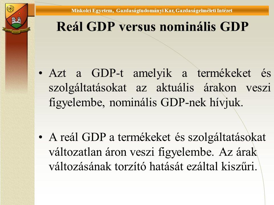 Universität Miskolc, Fakultät für Wirtschaftswissenschaften, Istitut für Wirtschaftstheorie Reál GDP versus nominális GDP Azt a GDP-t amelyik a termékeket és szolgáltatásokat az aktuális árakon veszi figyelembe, nominális GDP-nek hívjuk.