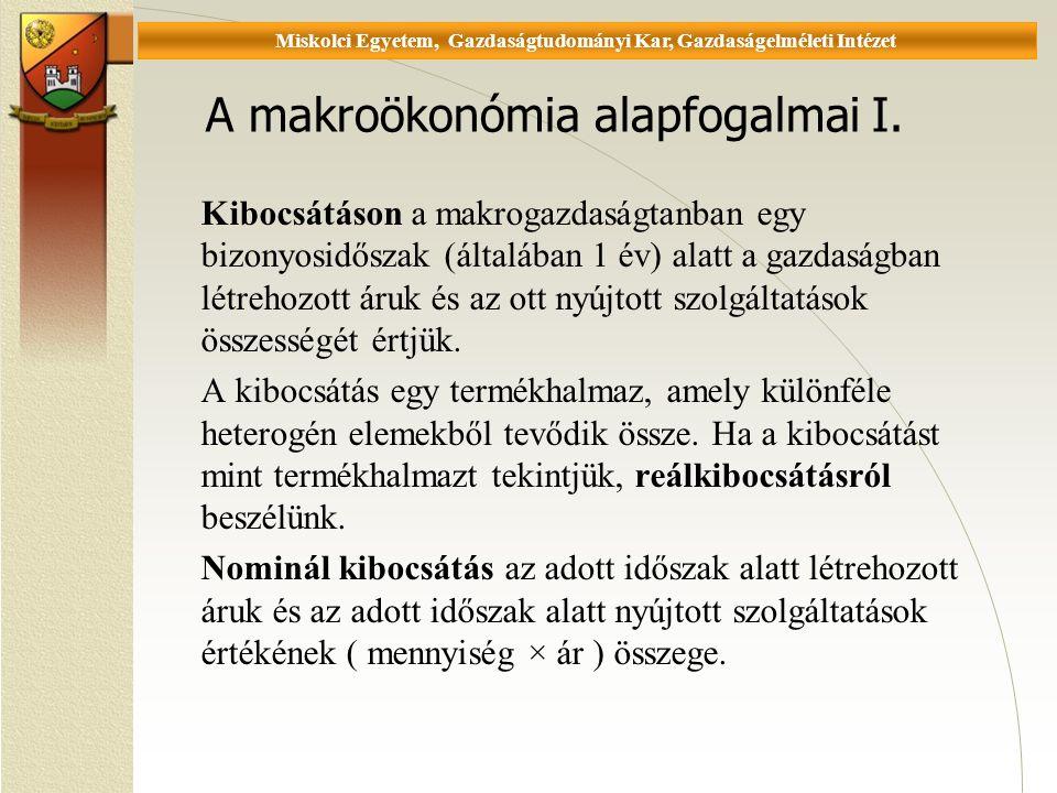 Universität Miskolc, Fakultät für Wirtschaftswissenschaften, Istitut für Wirtschaftstheorie A makroökonómia alapfogalmai I.