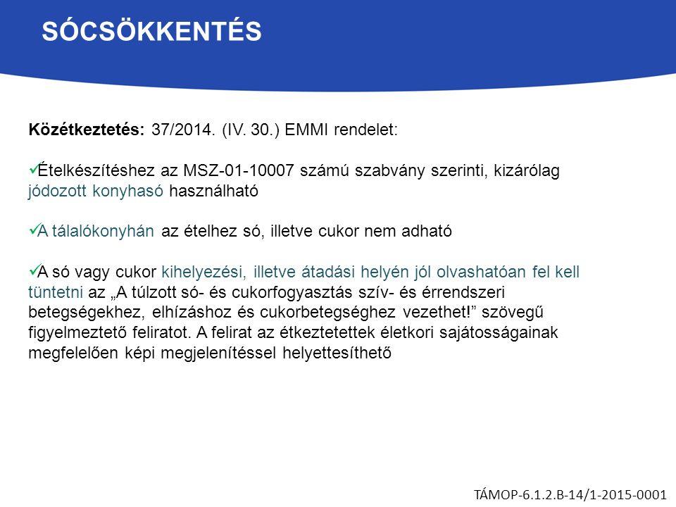 SÓCSÖKKENTÉS Közétkeztetés: 37/2014. (IV.