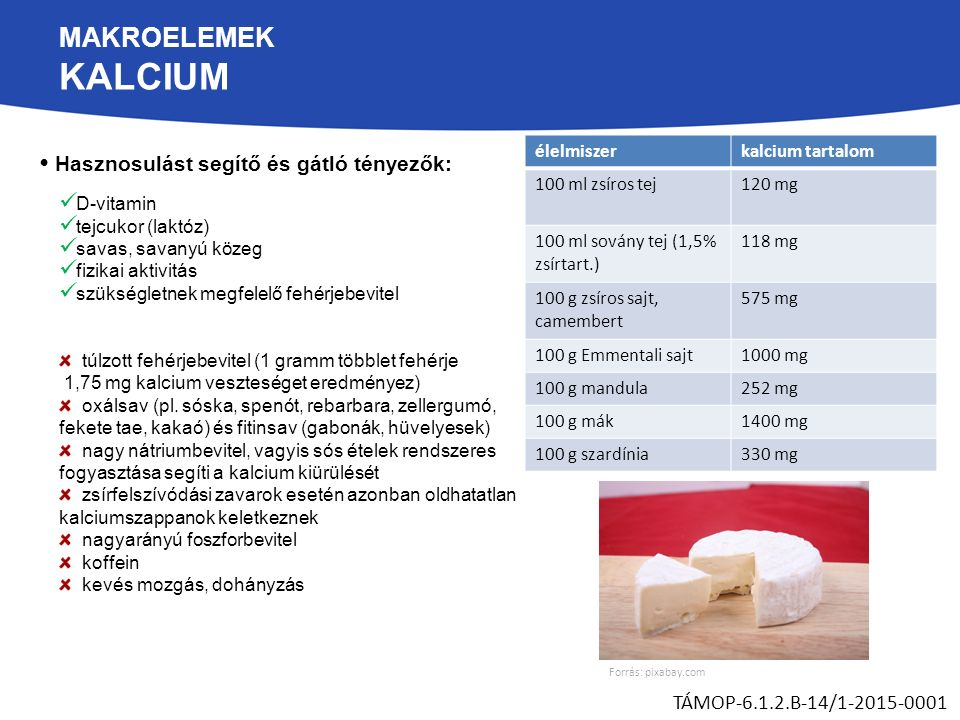 MAKROELEMEK KALCIUM Hasznosulást segítő és gátló tényezők: TÁMOP-6.1.2.B-14/1-2015-0001 D-vitamin tejcukor (laktóz) savas, savanyú közeg fizikai aktivitás szükségletnek megfelelő fehérjebevitel túlzott fehérjebevitel (1 gramm többlet fehérje 1,75 mg kalcium veszteséget eredményez) oxálsav (pl.