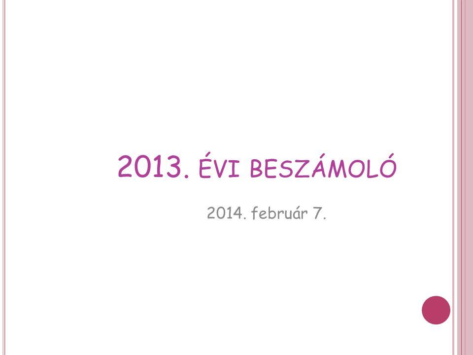 2013. ÉVI BESZÁMOLÓ 2014. február 7.