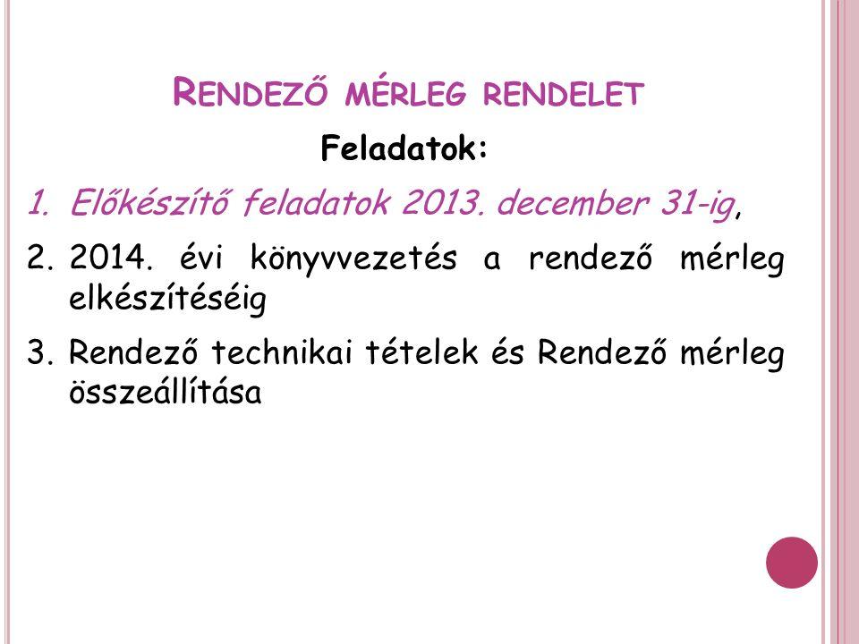 R ENDEZŐ MÉRLEG RENDELET Feladatok: 1.Előkészítő feladatok 2013.