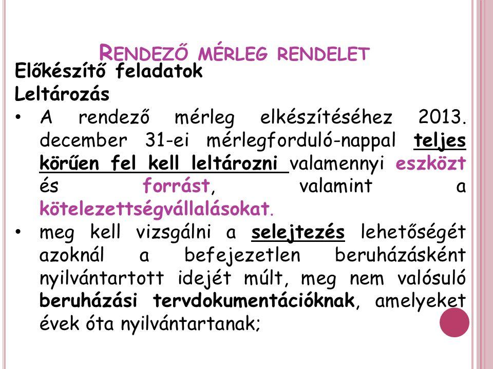 R ENDEZŐ MÉRLEG RENDELET Előkészítő feladatok Leltározás A rendező mérleg elkészítéséhez 2013.
