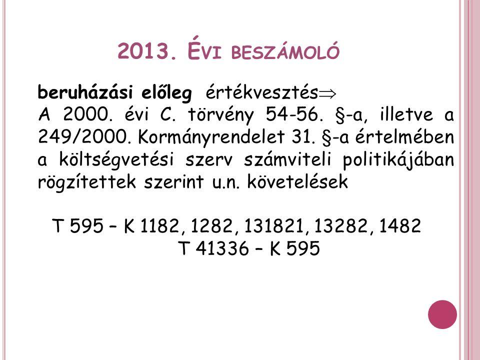 2013. É VI BESZÁMOLÓ beruházási előlegértékvesztés  A 2000.