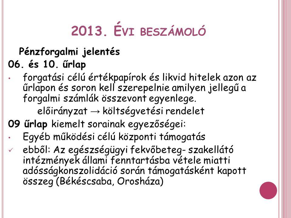 2013. É VI BESZÁMOLÓ Pénzforgalmi jelentés 06. és 10.