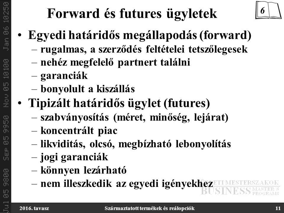 2016. tavaszSzármaztatott termékek és reálopciók11 Forward és futures ügyletek Egyedi határidős megállapodás (forward) –rugalmas, a szerződés feltétel