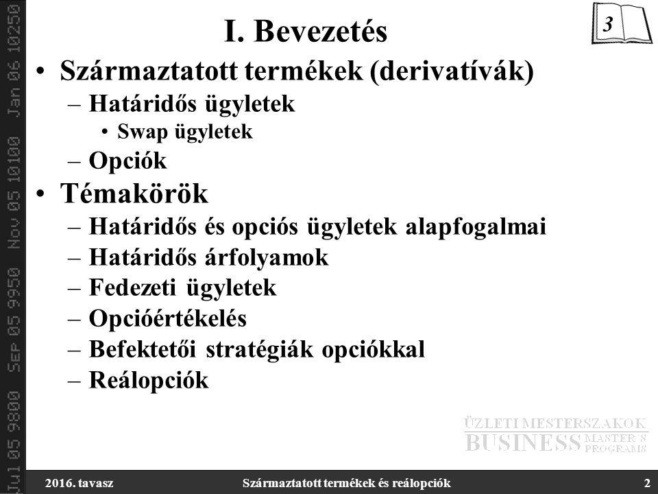 2016.tavaszSzármaztatott termékek és reálopciók13 Elszámolóház –Nettó pozíciója nulla.