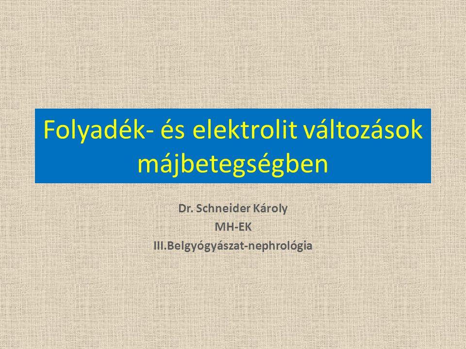 Folyadék- és elektrolit változások májbetegségben Dr. Schneider Károly MH-EK III.Belgyógyászat-nephrológia