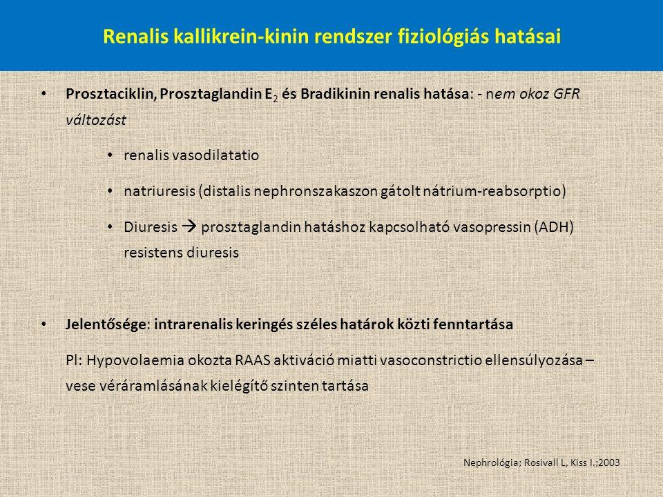 Prosztaciklin, Prosztaglandin E 2 és Bradikinin renalis hatása: - nem okoz GFR változást renalis vasodilatatio natriuresis (distalis nephronszakaszon