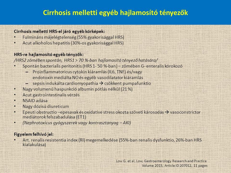 Cirrhosis melletti egyéb hajlamosító tényezők Cirrhosis melletti HRS-el járó egyéb kórképek: Fulmináns májelégtelenség (55% gyakorisággal HRS) Acut al