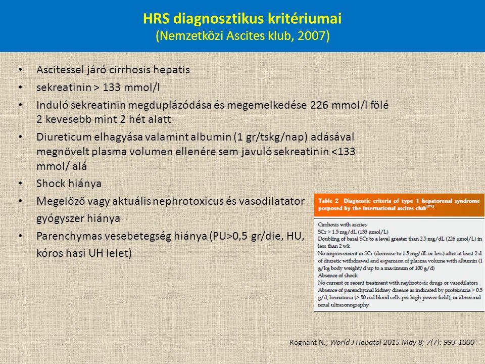 HRS diagnosztikus kritériumai (Nemzetközi Ascites klub, 2007) Ascitessel járó cirrhosis hepatis sekreatinin > 133 mmol/l Induló sekreatinin megduplázó