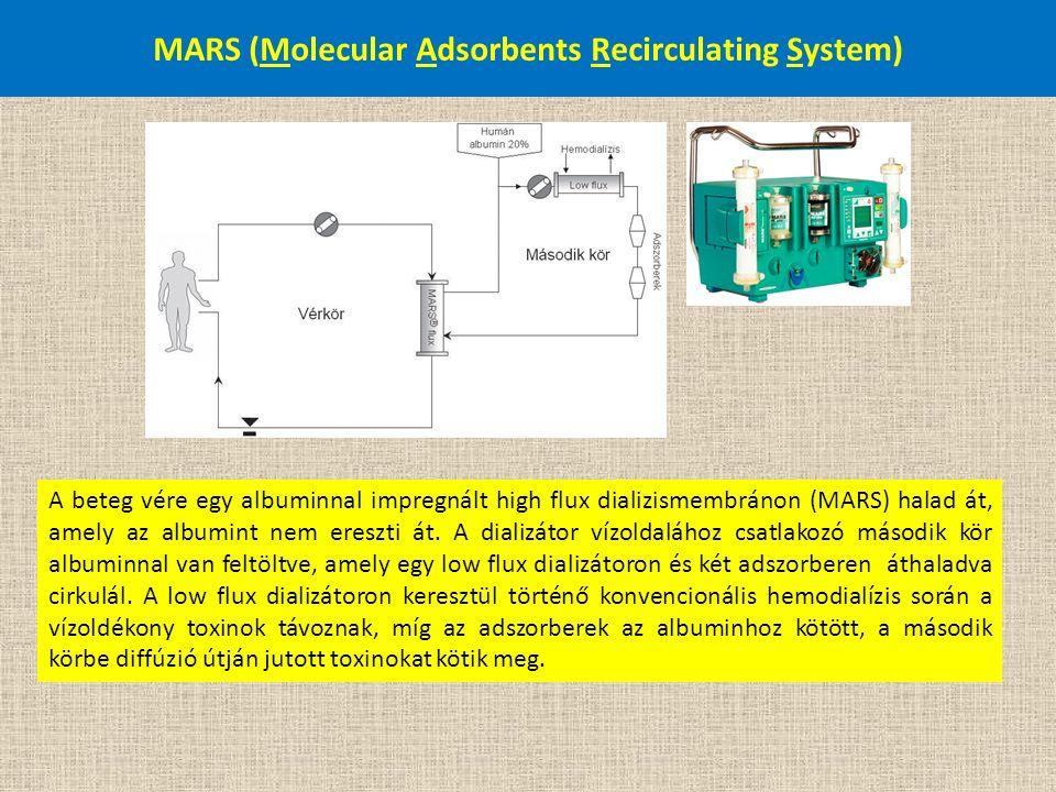 MARS (Molecular Adsorbents Recirculating System) A beteg vére egy albuminnal impregnált high flux dializismembránon (MARS) halad át, amely az albumint