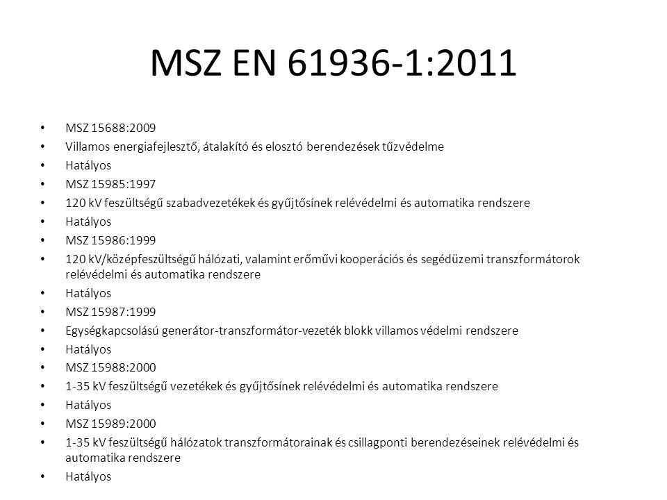 MSZ EN 61936-1:2011 MSZ 15688:2009 Villamos energiafejlesztő, átalakító és elosztó berendezések tűzvédelme Hatályos MSZ 15985:1997 120 kV feszültségű szabadvezetékek és gyűjtősínek relévédelmi és automatika rendszere Hatályos MSZ 15986:1999 120 kV/középfeszültségű hálózati, valamint erőművi kooperációs és segédüzemi transzformátorok relévédelmi és automatika rendszere Hatályos MSZ 15987:1999 Egységkapcsolású generátor-transzformátor-vezeték blokk villamos védelmi rendszere Hatályos MSZ 15988:2000 1-35 kV feszültségű vezetékek és gyűjtősínek relévédelmi és automatika rendszere Hatályos MSZ 15989:2000 1-35 kV feszültségű hálózatok transzformátorainak és csillagponti berendezéseinek relévédelmi és automatika rendszere Hatályos