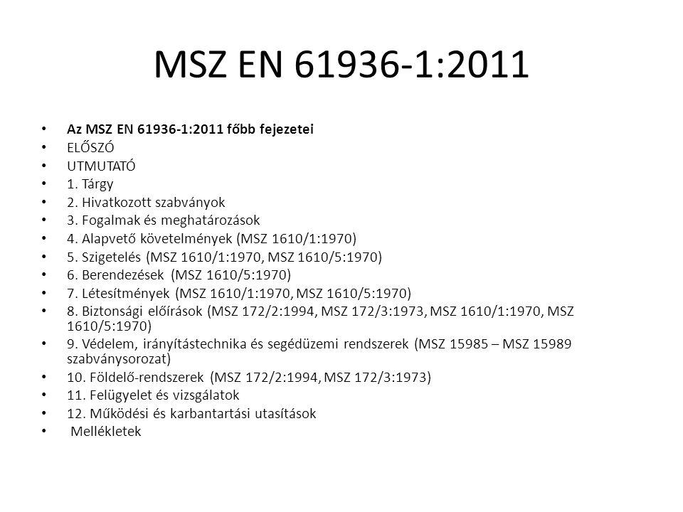 MSZ EN 61936-1:2011 Az MSZ EN 61936-1:2011 főbb fejezetei ELŐSZÓ UTMUTATÓ 1. Tárgy 2. Hivatkozott szabványok 3. Fogalmak és meghatározások 4. Alapvető