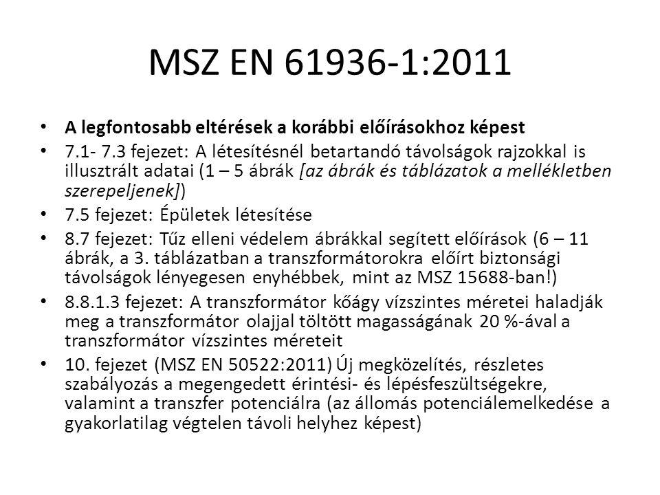 MSZ EN 61936-1:2011 A legfontosabb eltérések a korábbi előírásokhoz képest 7.1- 7.3 fejezet: A létesítésnél betartandó távolságok rajzokkal is illusztrált adatai (1 – 5 ábrák [az ábrák és táblázatok a mellékletben szerepeljenek]) 7.5 fejezet: Épületek létesítése 8.7 fejezet: Tűz elleni védelem ábrákkal segített előírások (6 – 11 ábrák, a 3.