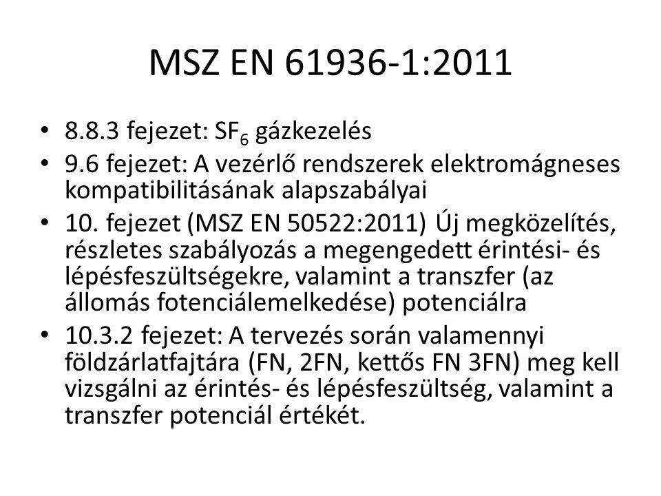MSZ EN 61936-1:2011 8.8.3 fejezet: SF 6 gázkezelés 9.6 fejezet: A vezérlő rendszerek elektromágneses kompatibilitásának alapszabályai 10. fejezet (MSZ