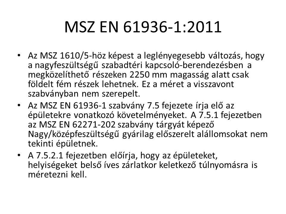 MSZ EN 61936-1:2011 Az MSZ 1610/5-höz képest a leglényegesebb változás, hogy a nagyfeszültségű szabadtéri kapcsoló-berendezésben a megközelíthető részeken 2250 mm magasság alatt csak földelt fém részek lehetnek.