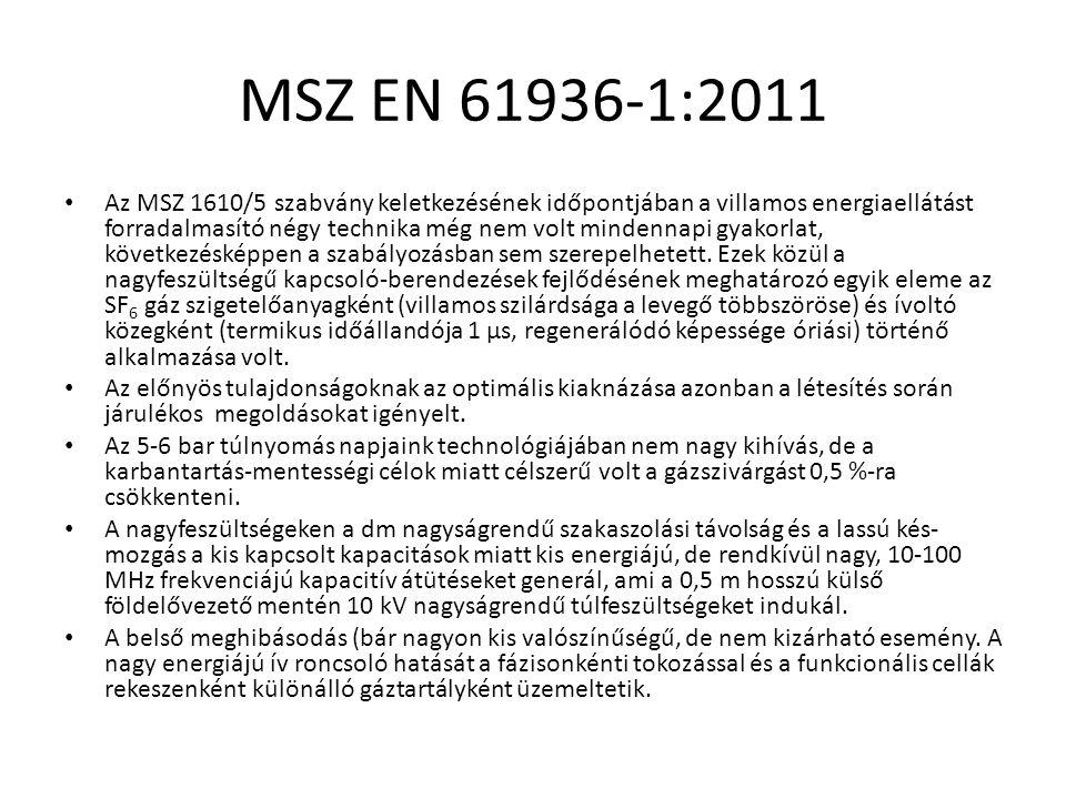 MSZ EN 61936-1:2011 Az MSZ 1610/5 szabvány keletkezésének időpontjában a villamos energiaellátást forradalmasító négy technika még nem volt mindennapi