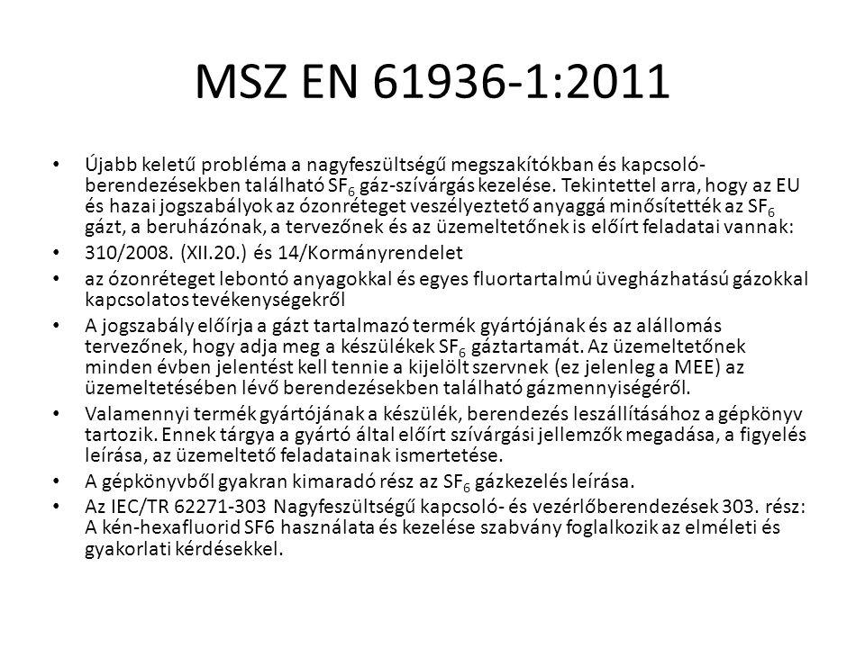MSZ EN 61936-1:2011 Újabb keletű probléma a nagyfeszültségű megszakítókban és kapcsoló- berendezésekben található SF 6 gáz-szívárgás kezelése. Tekinte