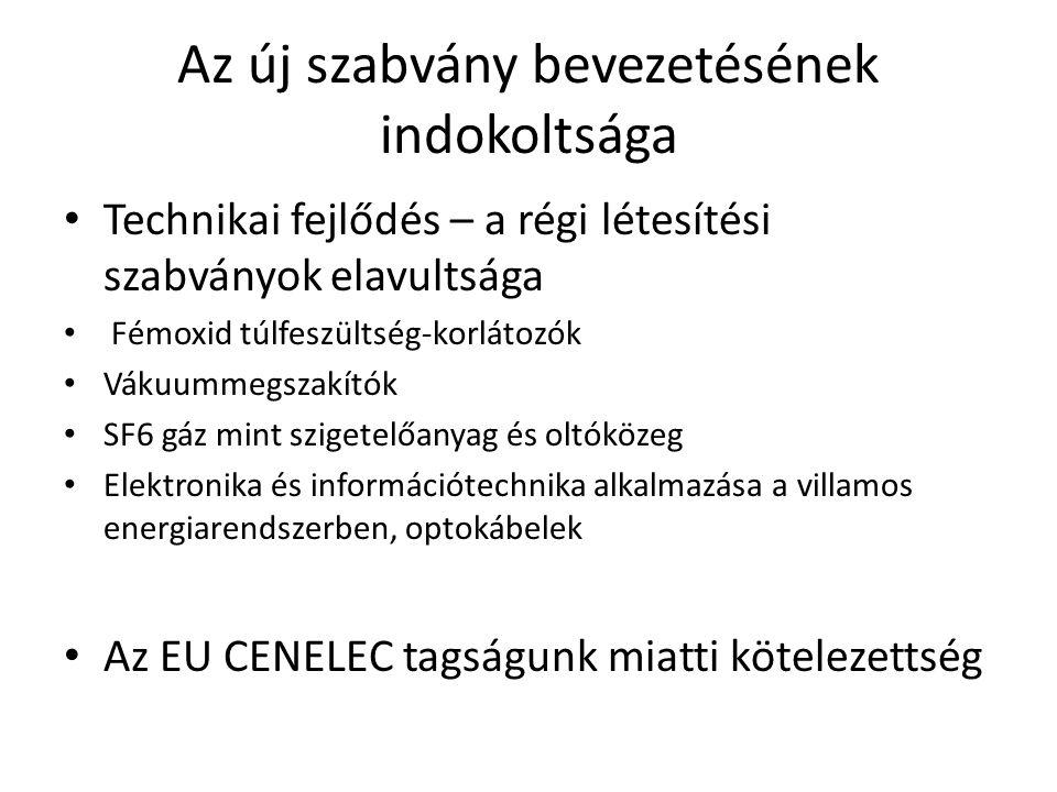 Az új szabvány bevezetésének indokoltsága Technikai fejlődés – a régi létesítési szabványok elavultsága Fémoxid túlfeszültség-korlátozók Vákuummegszakítók SF6 gáz mint szigetelőanyag és oltóközeg Elektronika és információtechnika alkalmazása a villamos energiarendszerben, optokábelek Az EU CENELEC tagságunk miatti kötelezettség