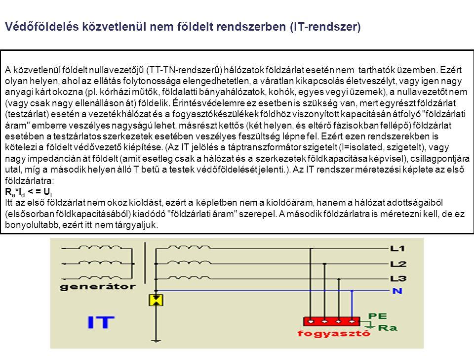 A közvetlenül földelt nullavezetőjű (TT-TN-rendszerű) hálózatok földzárlat esetén nem tarthatók üzemben.