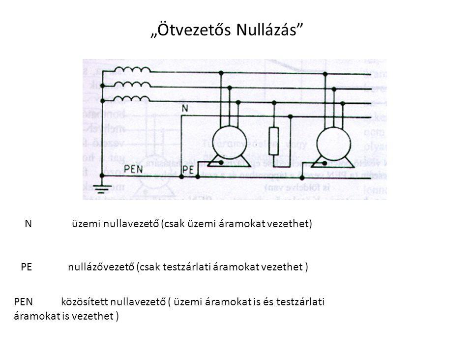 """""""Ötvezetős Nullázás Nüzemi nullavezető (csak üzemi áramokat vezethet) PEnullázővezető (csak testzárlati áramokat vezethet ) PENközösített nullavezető ( üzemi áramokat is és testzárlati áramokat is vezethet )"""