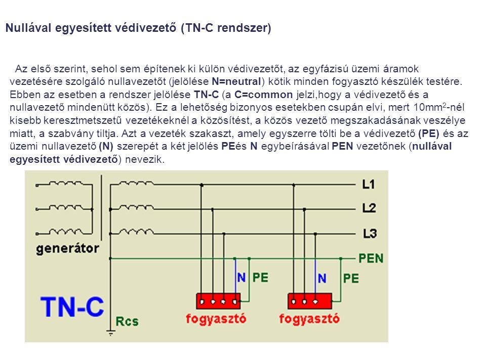 Az első szerint, sehol sem építenek ki külön védivezetőt, az egyfázisú üzemi áramok vezetésére szolgáló nullavezetőt (jelölése N=neutral) kötik minden fogyasztó készülék testére.