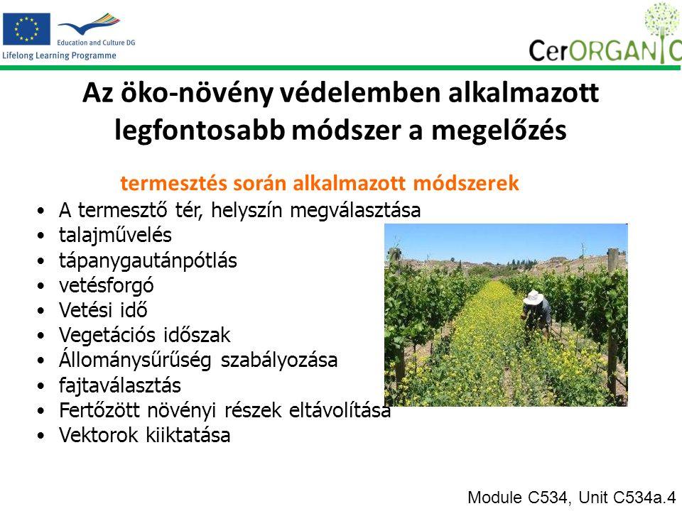 Az öko-növény védelemben alkalmazott legfontosabb módszer a megelőzés termesztés során alkalmazott módszerek A termesztő tér, helyszín megválasztása talajművelés tápanygautánpótlás vetésforgó Vetési idő Vegetációs időszak Állománysűrűség szabályozása fajtaválasztás Fertőzött növényi részek eltávolítása Vektorok kiiktatása Module C534, Unit C534a.4