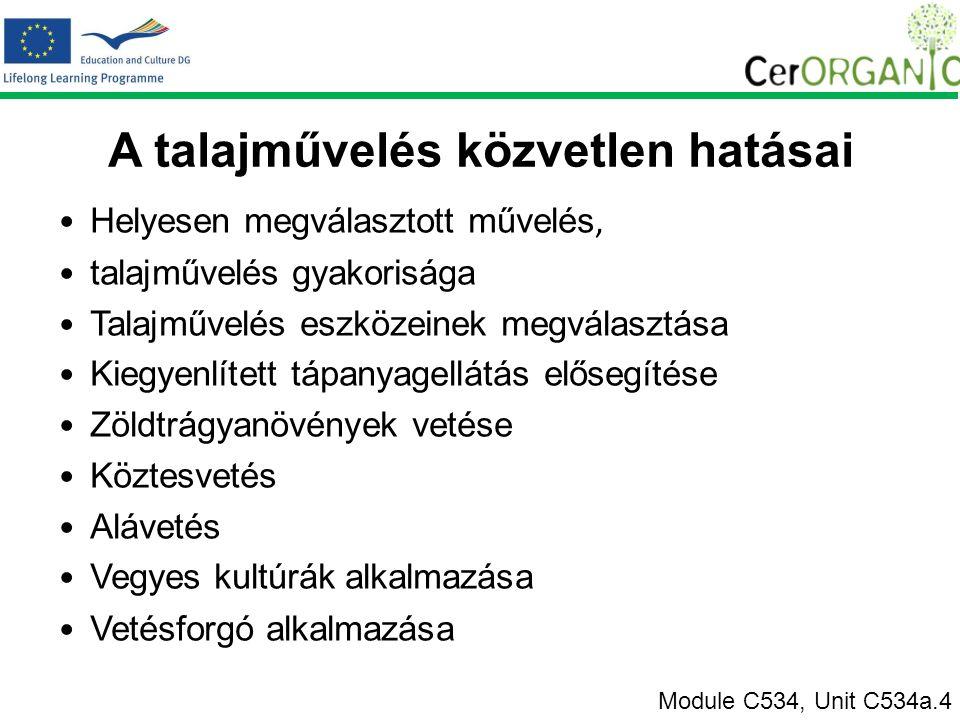 A talajművelés közvetlen hatásai Helyesen megválasztott művelés, talajművelés gyakorisága Talajművelés eszközeinek megválasztása Kiegyenlített tápanyagellátás elősegítése Zöldtrágyanövények vetése Köztesvetés Alávetés Vegyes kultúrák alkalmazása Vetésforgó alkalmazása Module C534, Unit C534a.4