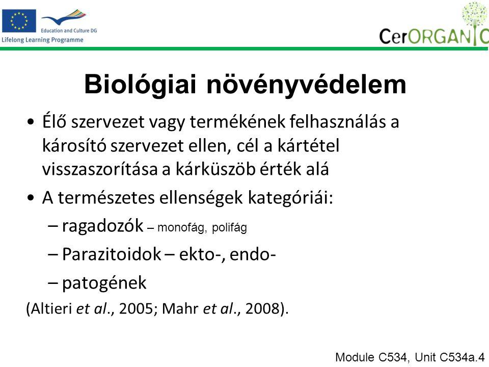 Biológiai növényvédelem Élő szervezet vagy termékének felhasználás a károsító szervezet ellen, cél a kártétel visszaszorítása a kárküszöb érték alá A természetes ellenségek kategóriái: –ragadozók – monofág, polifág –Parazitoidok – ekto-, endo- –patogének (Altieri et al., 2005; Mahr et al., 2008).
