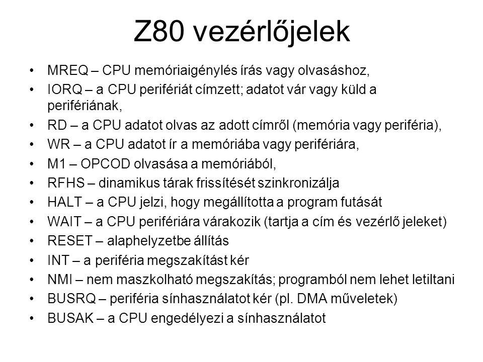 Z80 vezérlőjelek MREQ – CPU memóriaigénylés írás vagy olvasáshoz, IORQ – a CPU perifériát címzett; adatot vár vagy küld a perifériának, RD – a CPU ada