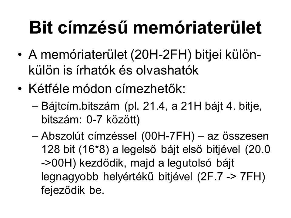 Bit címzésű memóriaterület A memóriaterület (20H-2FH) bitjei külön- külön is írhatók és olvashatók Kétféle módon címezhetők: –Bájtcím.bitszám (pl. 21.