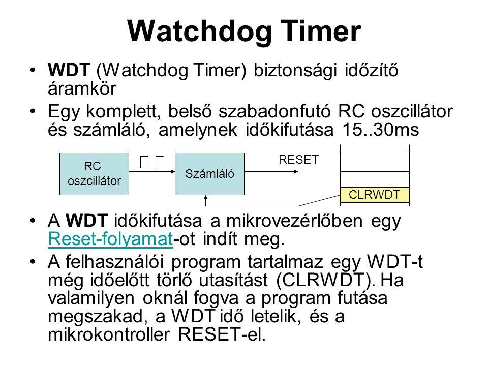 Watchdog Timer WDT (Watchdog Timer) biztonsági időzítő áramkör Egy komplett, belső szabadonfutó RC oszcillátor és számláló, amelynek időkifutása 15..30ms A WDT időkifutása a mikrovezérlőben egy Reset-folyamat-ot indít meg.