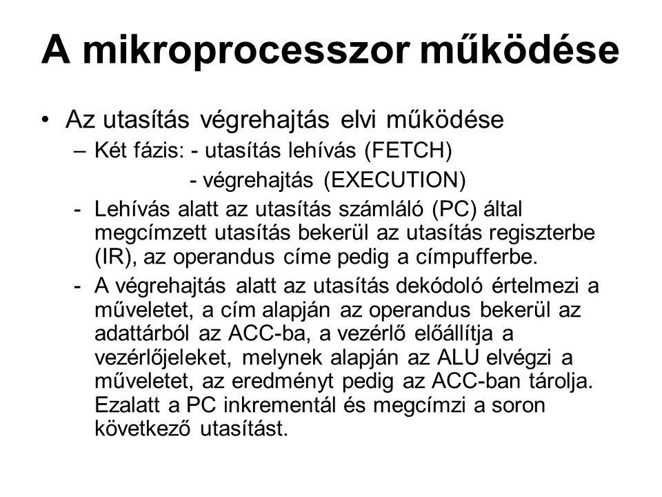 Z80 vezérlőjelek MREQ – CPU memóriaigénylés írás vagy olvasáshoz, IORQ – a CPU perifériát címzett; adatot vár vagy küld a perifériának, RD – a CPU adatot olvas az adott címről (memória vagy periféria), WR – a CPU adatot ír a memóriába vagy perifériára, M1 – OPCOD olvasása a memóriából, RFHS – dinamikus tárak frissítését szinkronizálja HALT – a CPU jelzi, hogy megállította a program futását WAIT – a CPU perifériára várakozik (tartja a cím és vezérlő jeleket) RESET – alaphelyzetbe állítás INT – a periféria megszakítást kér NMI – nem maszkolható megszakítás; programból nem lehet letiltani BUSRQ – periféria sínhasználatot kér (pl.