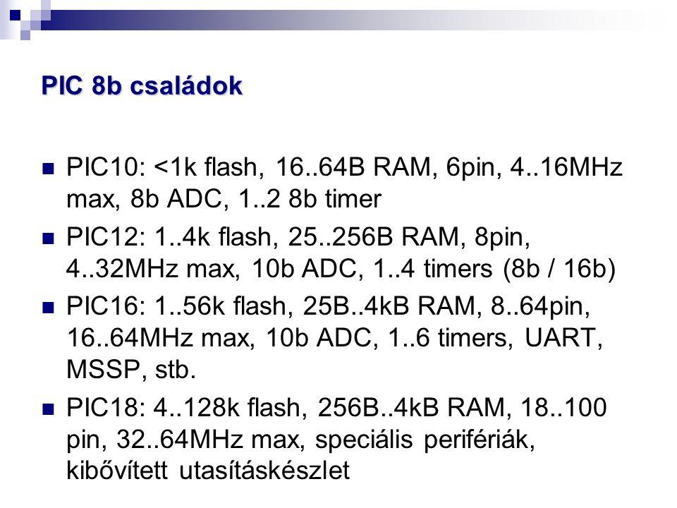 PIC 8b családok PIC10: <1k flash, 16..64B RAM, 6pin, 4..16MHz max, 8b ADC, 1..2 8b timer PIC12: 1..4k flash, 25..256B RAM, 8pin, 4..32MHz max, 10b ADC, 1..4 timers (8b / 16b) PIC16: 1..56k flash, 25B..4kB RAM, 8..64pin, 16..64MHz max, 10b ADC, 1..6 timers, UART, MSSP, stb.