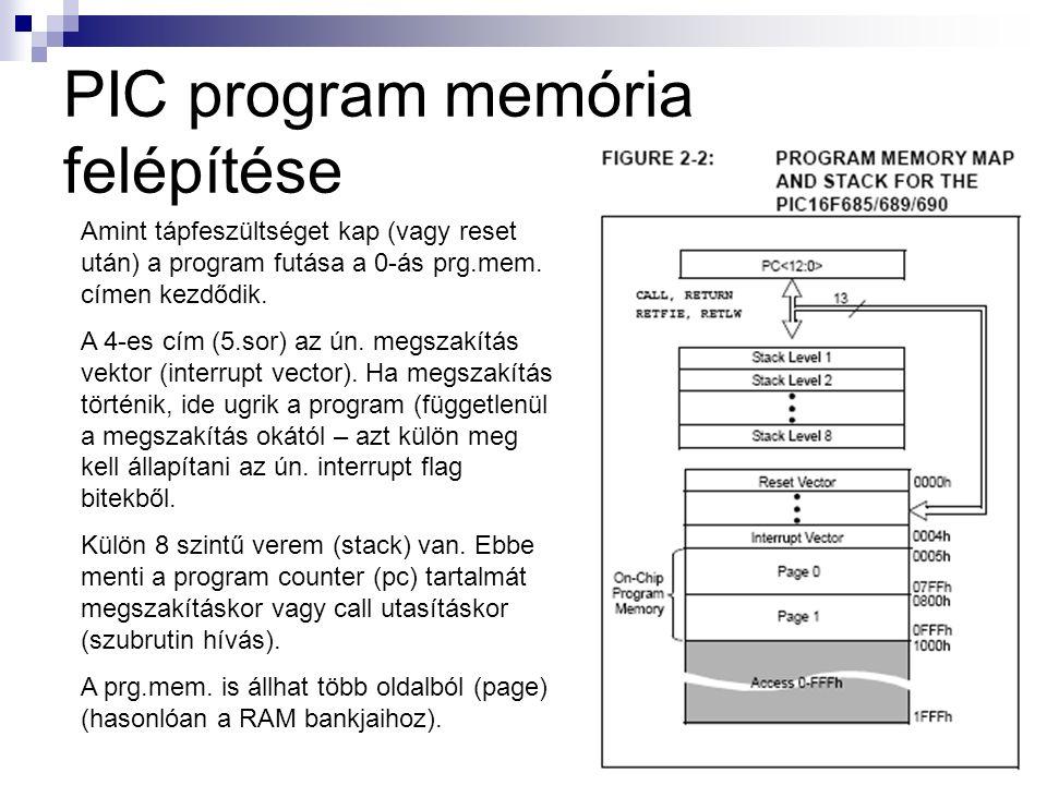 PIC program memória felépítése Amint tápfeszültséget kap (vagy reset után) a program futása a 0-ás prg.mem.