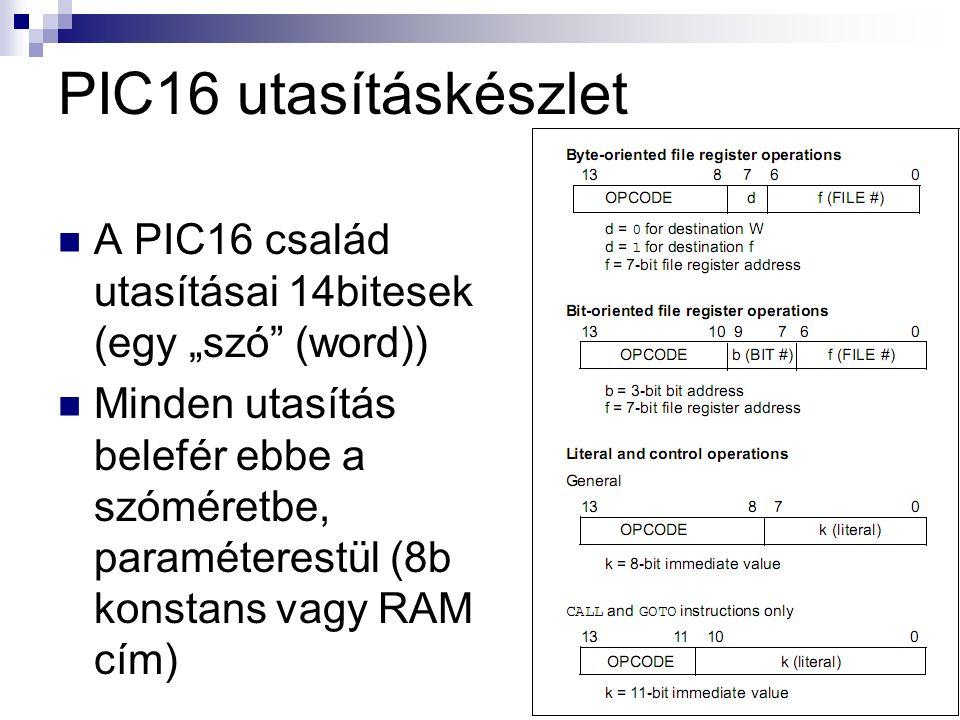 """PIC16 utasításkészlet A PIC16 család utasításai 14bitesek (egy """"szó (word)) Minden utasítás belefér ebbe a szóméretbe, paraméterestül (8b konstans vagy RAM cím)"""